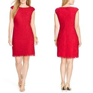 LRL Cap Sleeve Floral Lace Sheath Dress